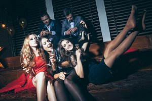 women having fun on crazy party