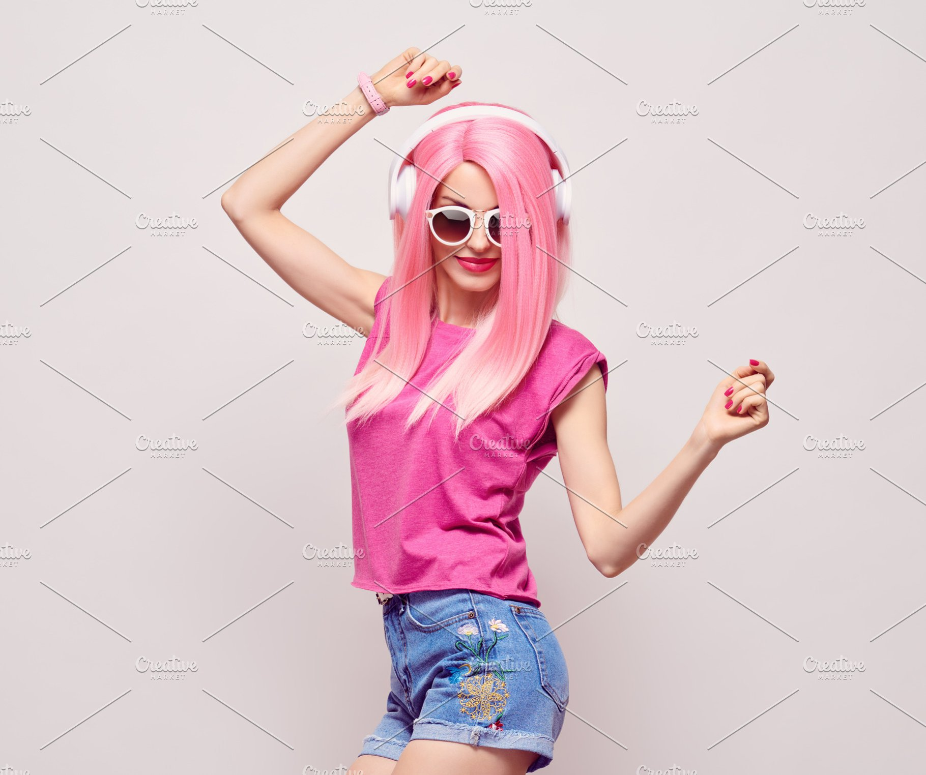 DJ Girl Hipster with Pink Fashion Hairstyle Dance