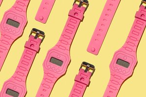 Bright colour hand pink clock