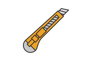 Stationery knife color icon