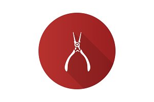 Round nose pliers flat design long shadow glyph icon