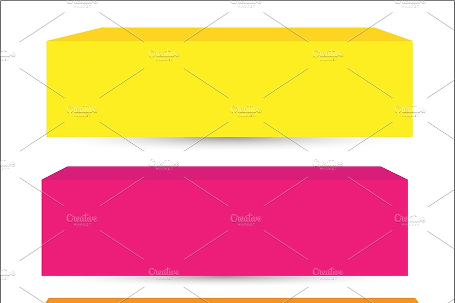 3D Vector Box and Banners Designs