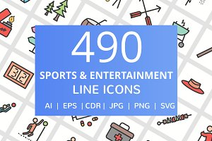 490 Sports Filled Line Icons