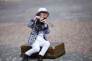 Little photographer outdoor