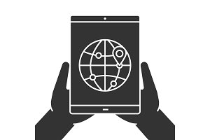 Hands holding tablet computer glyph icon