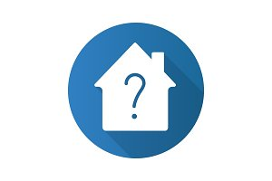 Housing problems flat design long shadow glyph icon