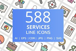 588 Services Filled Line Icons