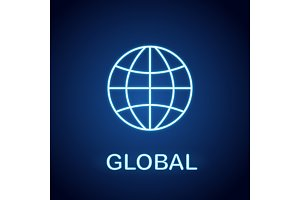 Globe neon light icon