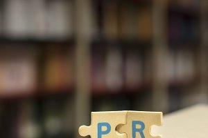 PR puzzle letters. Word PR