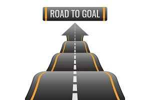 Road to goal abstract way to success, achievement new opportunities