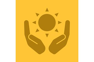 Open palms with sun glyph color icon