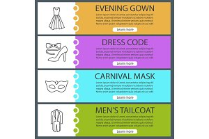 Party clothes web banner templates set