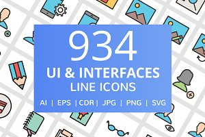934 UI & Interface Filled Line Icons