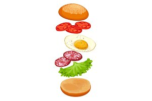 Burger with ingredients isolated on white. Crispy bun, green lettuce