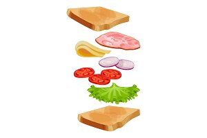 Toasted loaf of bread with lettuce salad, fresh tomatoes vector