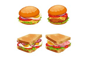 Set of burgers hamburgers and cheeseburgers with buns and bread