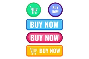 Set of web push buttons buy now, cart icon vector