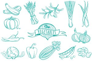 25 Outline hand drawn vegetable set