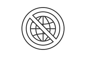 Forbidden sign with globe linear icon