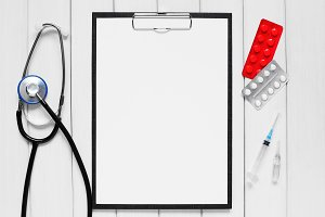 Clipboard and medical tools