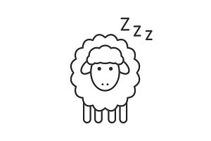 Sleeping sheep linear icon