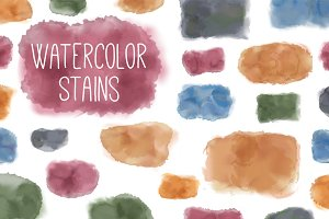 Vector watercolor stains handmade