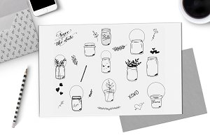 Clip art mason jars - hand drawn