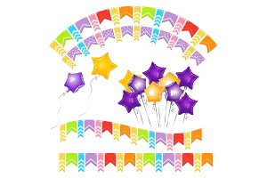 Balloons in shape of gold five-pointed star and colorful paper