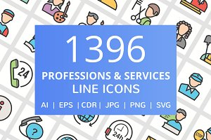 1396 Professions Filled Line Icons