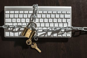 Keys, padlock and keyboard