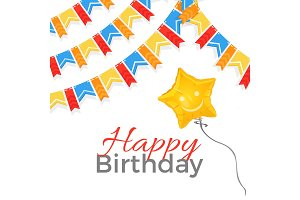 Happy birthday greeting on banner with balloon in star shape