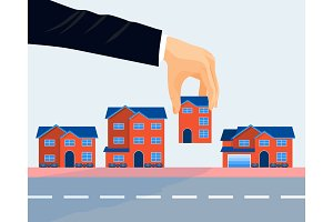 Real estate business promotional poster vector illustration.