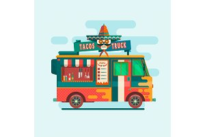 Food truck festival menu.Street Food Vehicles flat vector concept illustration