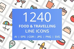1240 Food & Travel Filled Line Icons