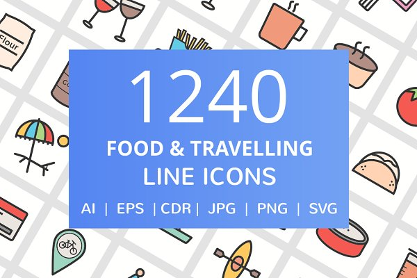 1240 Food & Travel Filled Line Icon…