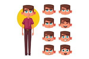 Set of boy facial emotions