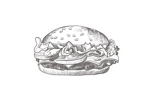 Burger black and white realistic sketch isolated illustration