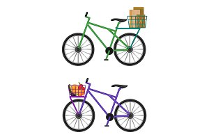 Bicycles with baskets full of male envelopes and fresh vegetables