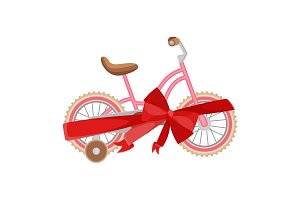 Pink bicycle in decorative wrapping ribbon with bow vector