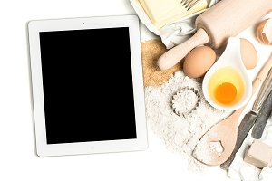 Tablet pc and baking ingredients