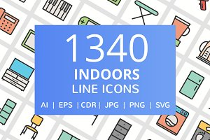 1340 Indoors Filled Line Icons
