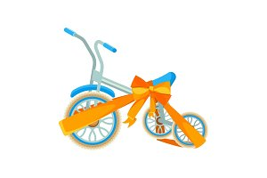 Blue bicycle in decorative wrapping ribbon with bow vector