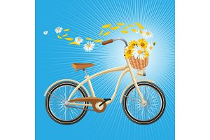 Bicycle with cart full of flowers, petals flying in air