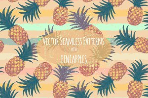 Pineapples patterns set. Hand drawn