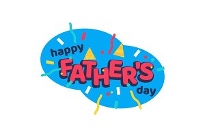 Happy fathers day cartoon sticker with serpantine ribbons