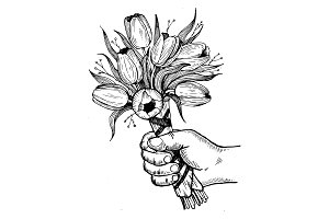 Hand with flowers engraving vector illustration