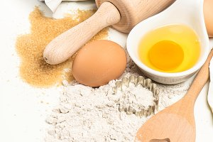 Baking ingredients. Food background