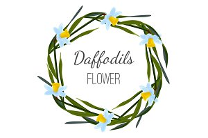 Daffodils flower poster with wreath of wild flowers