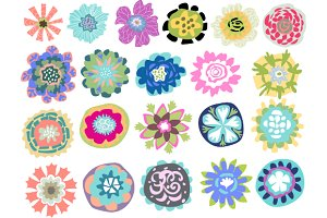 Flower Elements Logos 21 Vectors