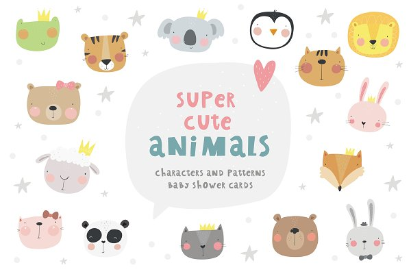 Cute animals character, baby shower